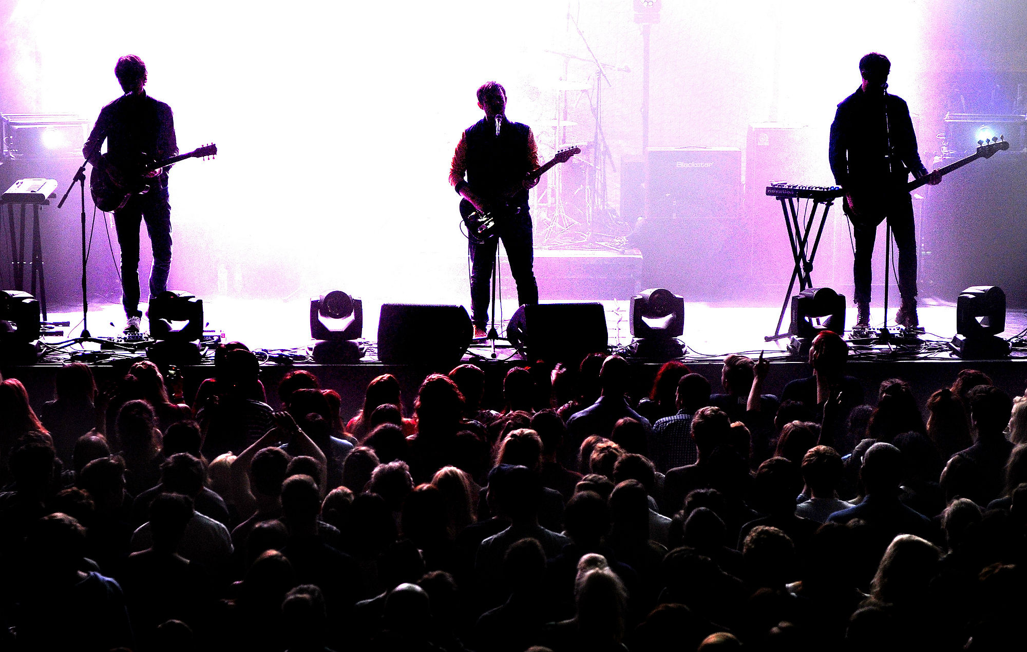 Jonathan Higgs, Jeremy Pritchard and Alex Robertshaw of Everything Everything perform at The Ritz, Manchester on October 11, 2013 in Manchester, England. (Photo by Shirlaine Forrest/WireImage)