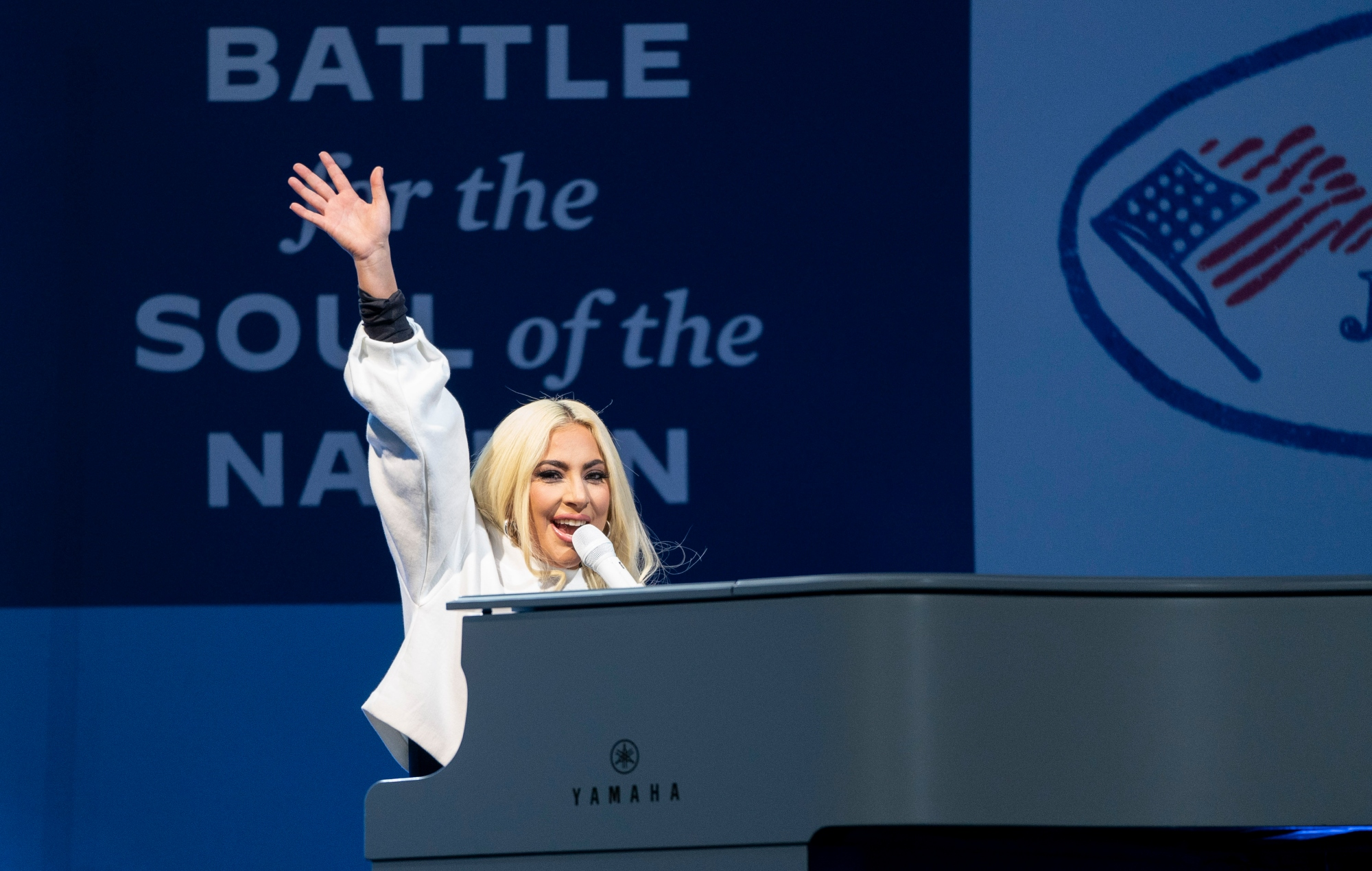 Lady Gaga performs two songs at BIden's final rally