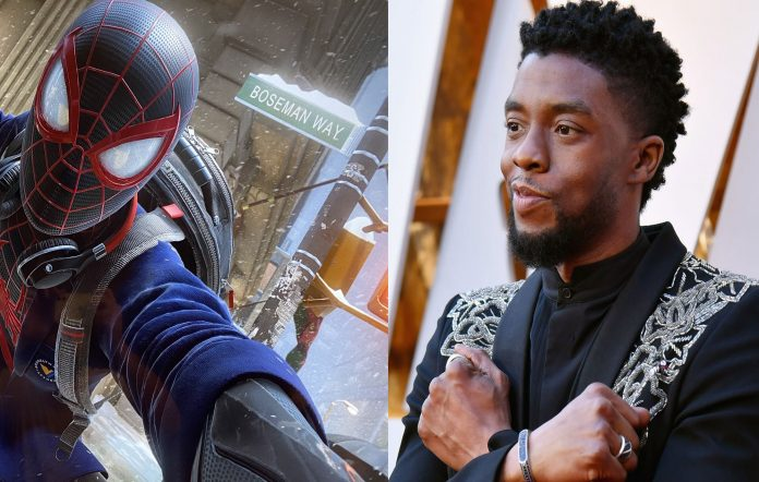 Spider-Man Miles Morales and Chadwick Boseman