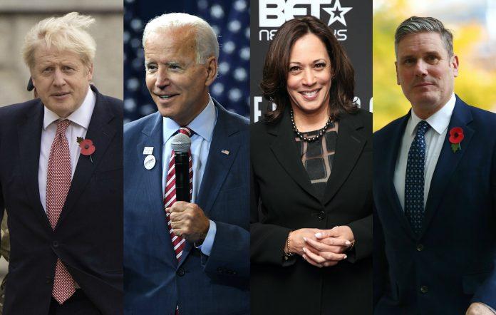 Boris Johnson, Joe Biden, Kamala Harris, Keir Starmer