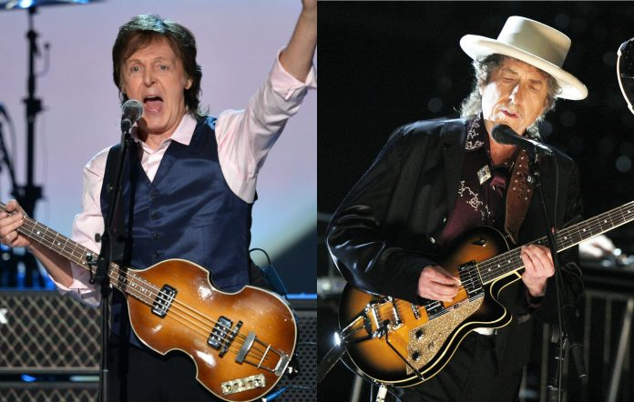 Paul McCartney (Photo by Kevin Winter/Getty Images) and Bob Dylan (Photo by Kevin Winter/Getty Images for AFI)