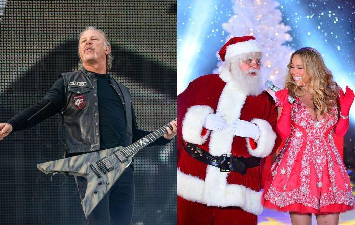 Metallica's James Hetfield (Photo by Per Ole Hagen/Redferns) and Mariah Carey feat. Santa (Photo by James Devaney/FilmMagic)