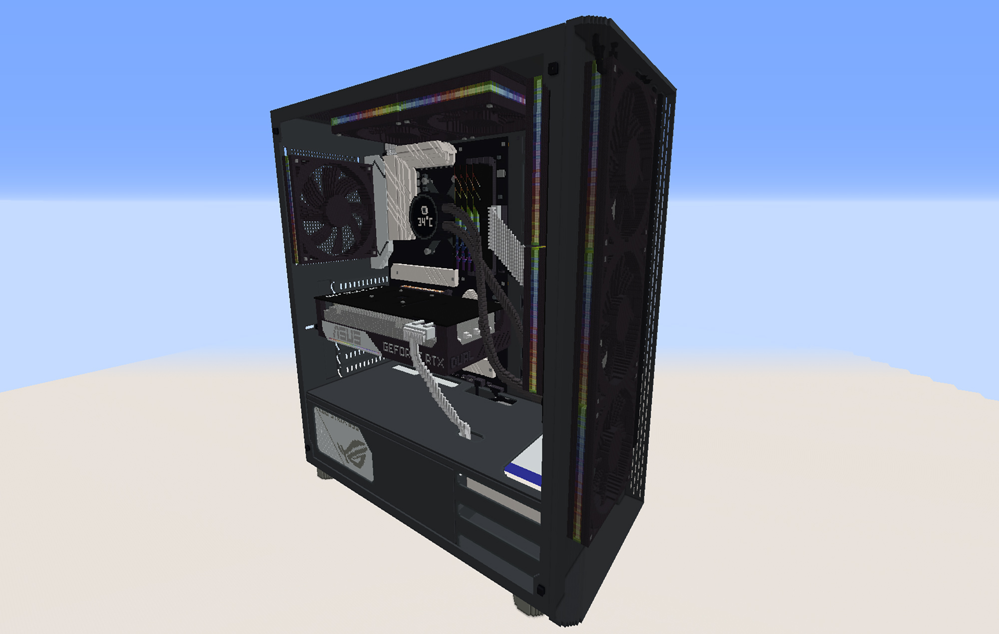 Fully scaled RTX 3070 gaming PC built in Minecraft took 45 hours