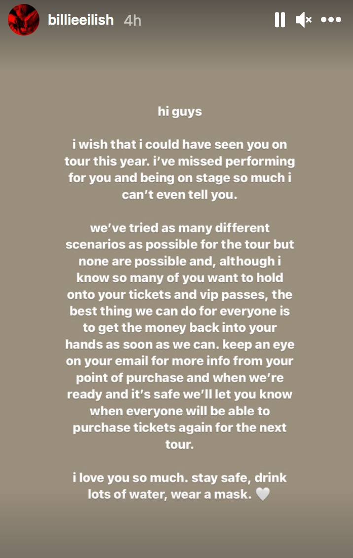 billie eilish tour cancel screenshot