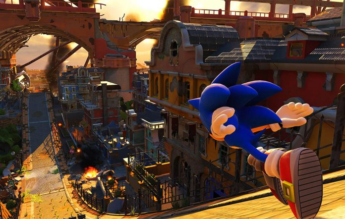 Sonic the Hedgehog running downhill