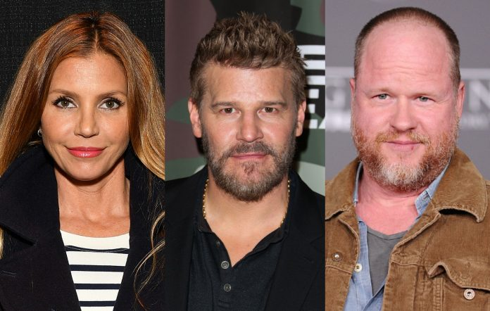 Charisma Carpenter, David Boreanaz and Joss Whedon