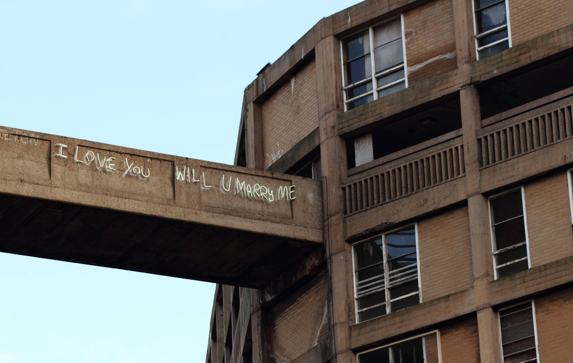 Graffiti based artwork adorns a bridge on the Park Hill housing estate, Sheffield Yorkshire UK Contributor: Matthew Taylor / Alamy Stock Photo