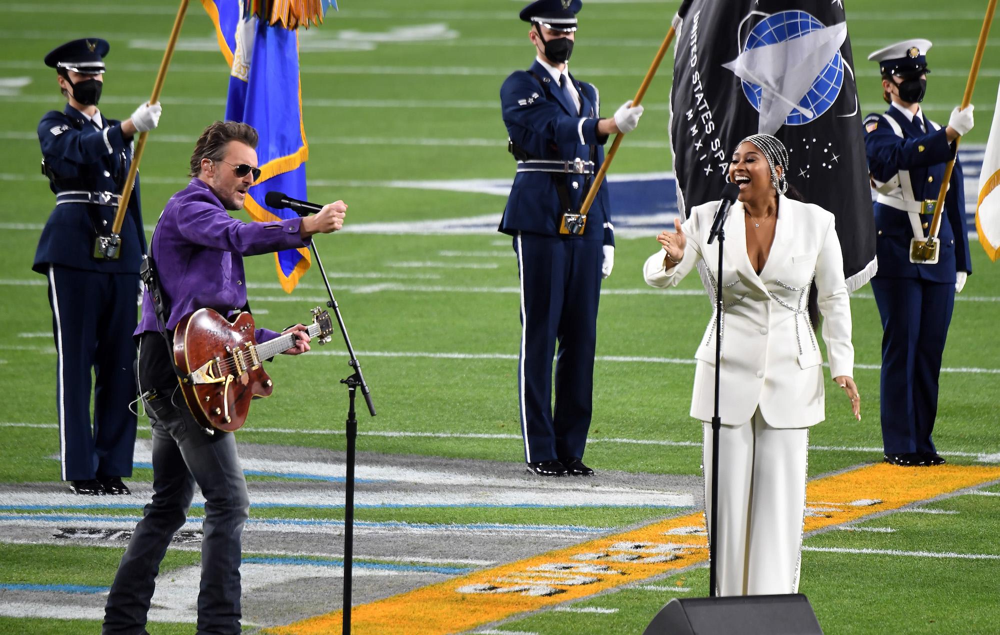 Watch Eric Church and Jazmine Sullivan play 'Star-Spangled Banner' at Super Bowl