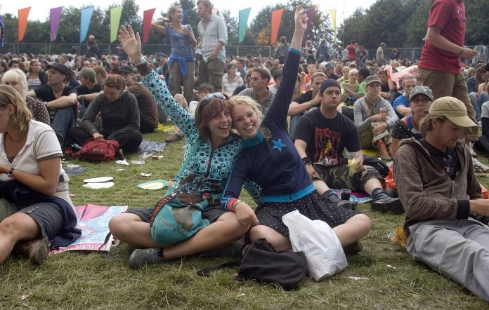 Fans at the Lowlands Festival (Photo by Paul Bergen/Redferns)