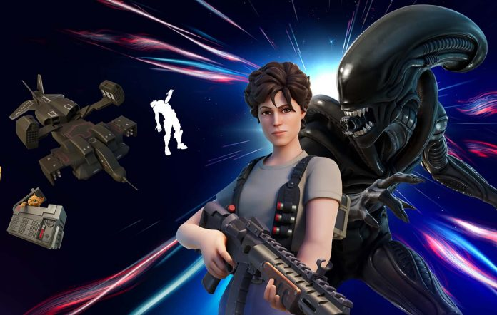 Ripley and the Xenomorph from Alien in Fortnite. Image Credit: Epic Games