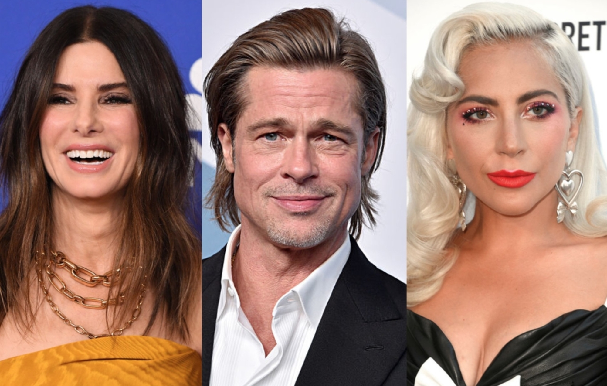 Sandra Bullock, Brad Pitt and Lady Gaga