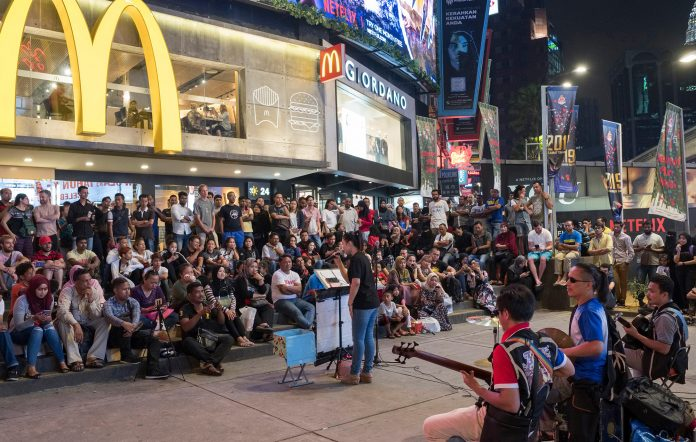 Band performing on the streets in 2019