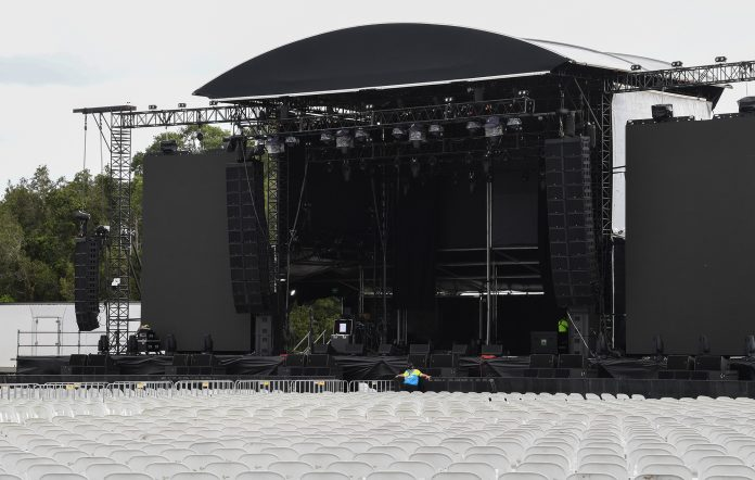 Rows of empty chairs at the cancelled 2021 Bluesfest