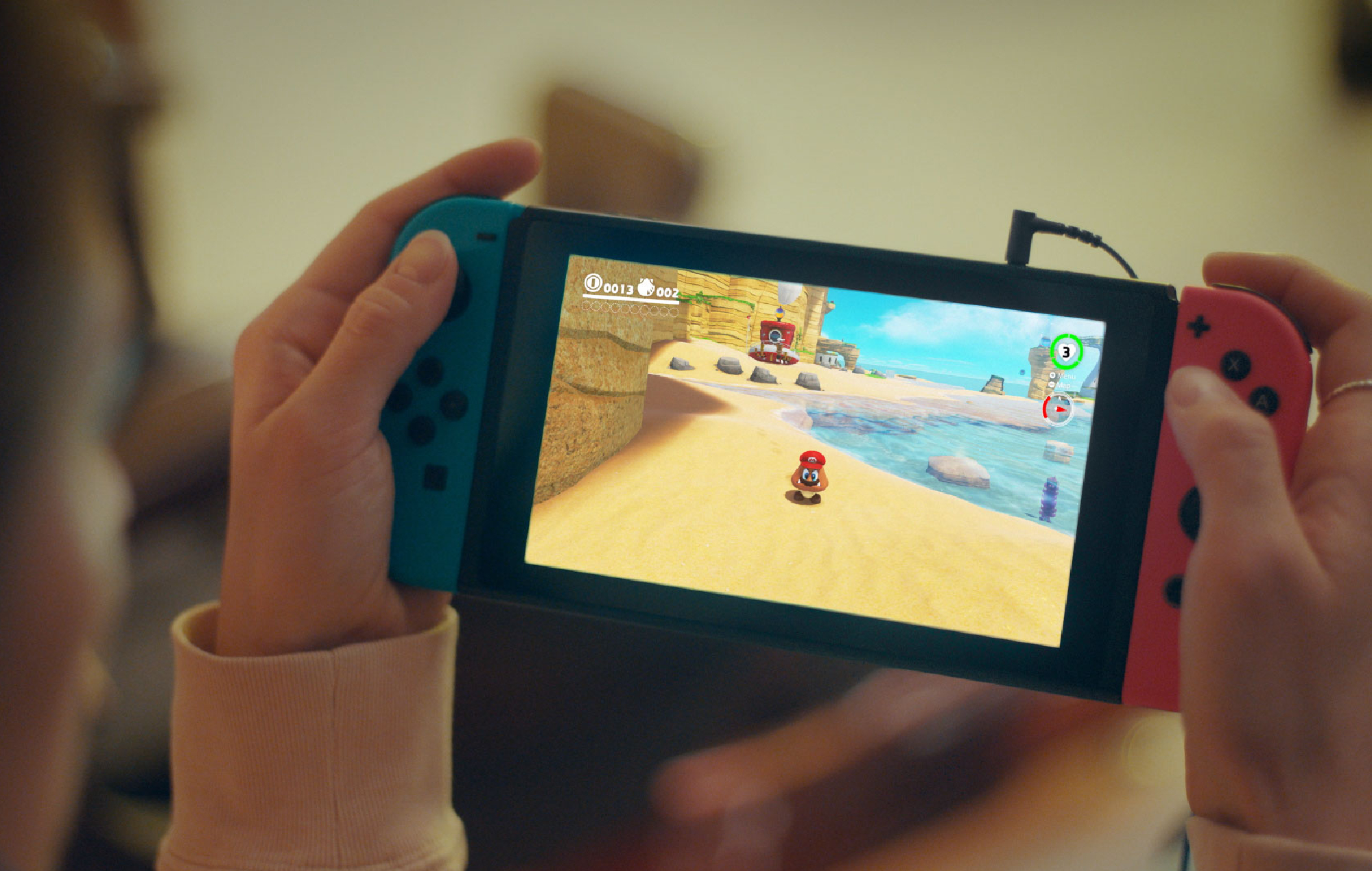 Nintendo Switch running Mario Odyssey