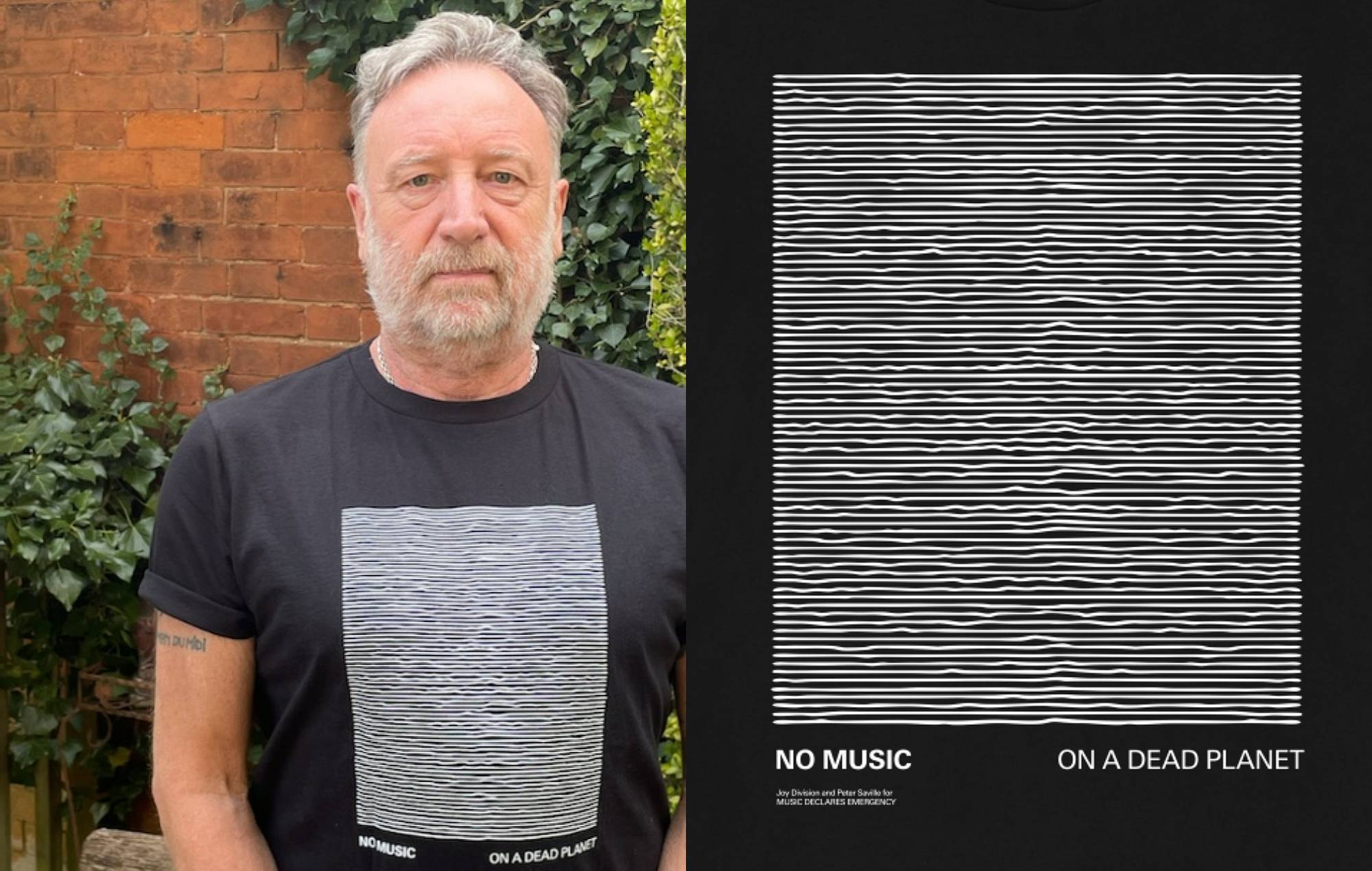 Peter Saville reworks Joy Division's iconic 'Unknown Pleasures' for new Music Declares Emergency t-shirt. Credit: MDE/Press