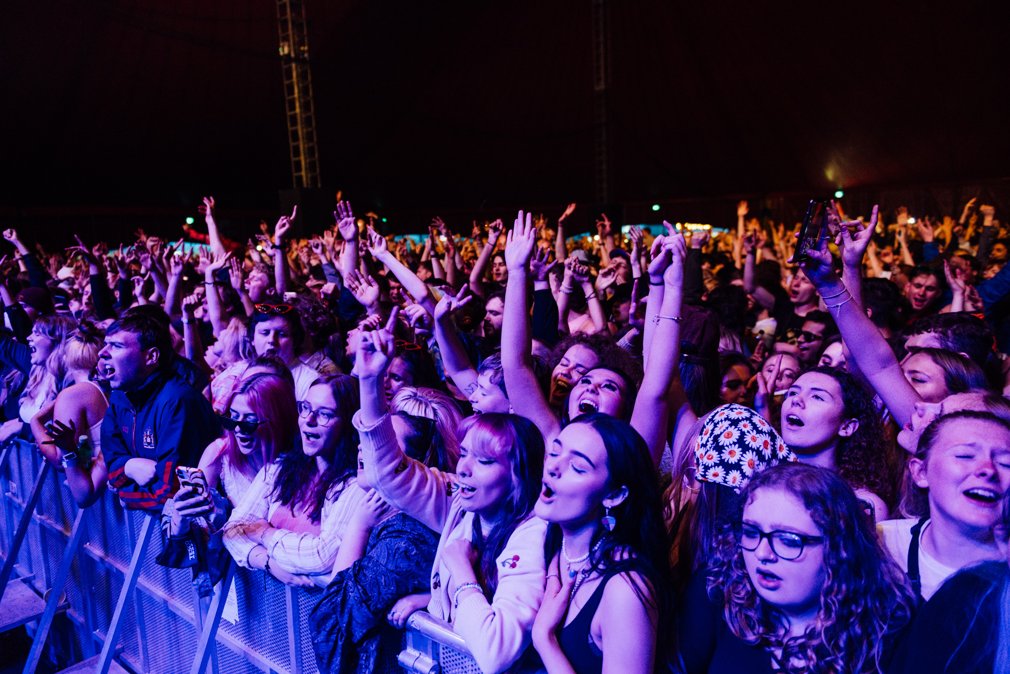 The crowd for Blossoms at the Liverpool Sefton Park COVID pilot gig. Credit: Ben Bentley for NME