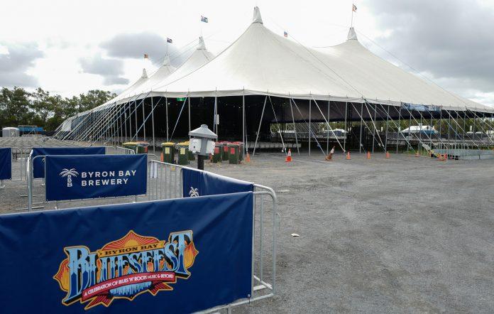 An empty tent at Bluesfest 2021