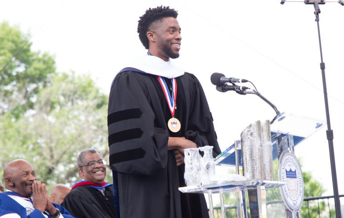 Chadwick Boseman receiving his honourary doctorate at Howard University in 2018.