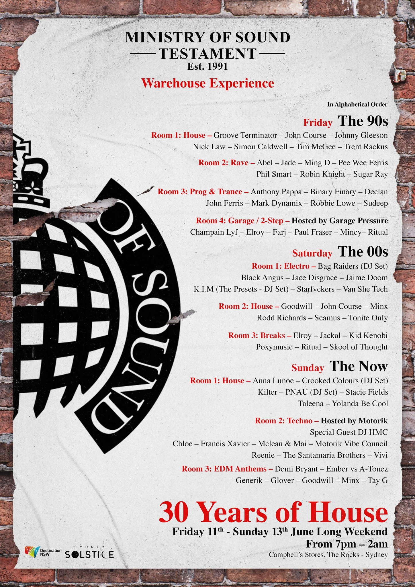 Ministry of Sound poster 30th Anniversary