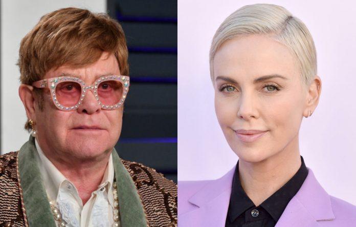Elton John and Charlize Theron