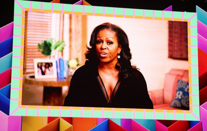 Michelle Obama presents award to The Weeknd at The BRITs