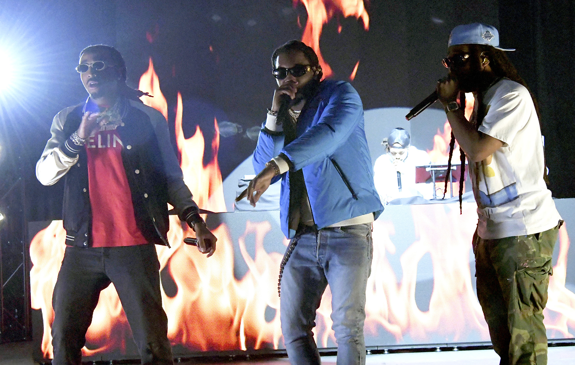 Quavo, Offset, and Takeoff of Migos perform during The SHAQ Bowl for Super Bowl LV in 2021