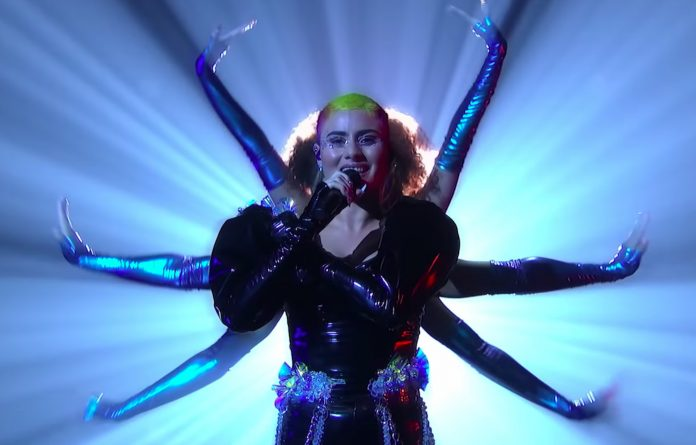 Still from Montaigne's Eurovision performance of her song 'Technicolour'