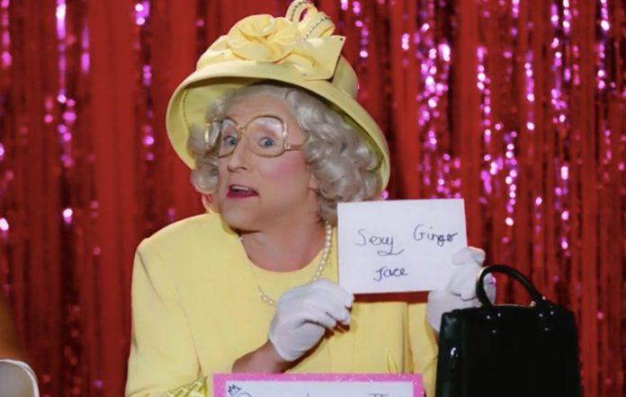 Anita Wigl'it in drag as Queen Elizabeth II