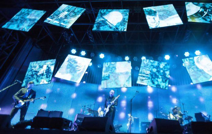Radiohead performs live during a concert at the Kindl Buehne Wuhlheide on September 29, 2012 in Berlin, Germany. (Photo by Jakubaszek/Redferns via Getty Images)