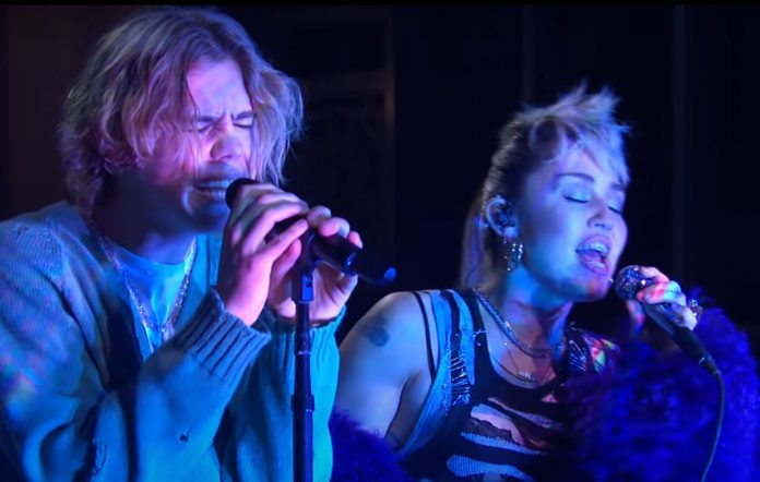 Watch The Kid LAROI and Miley Cyrus perform 'Without You' for first time on 'Saturday Night Live'