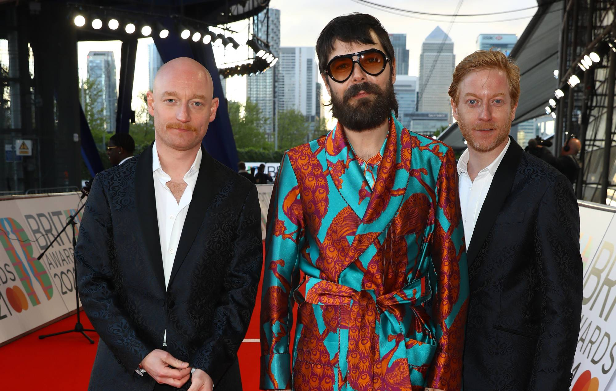Ben Johnston, Simon Neil and James Johnston of Biffy Clyro arrives at The BRIT Awards 2021 at The O2 Arena on May 11, 2021 in London, England. (Photo by JMEnternational/JMEnternational for BRIT Awards/Getty Images)