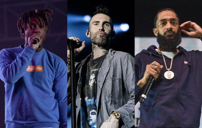 Juice WRLD, Maroon 5's Adam Levine, and Nipsey Hussle