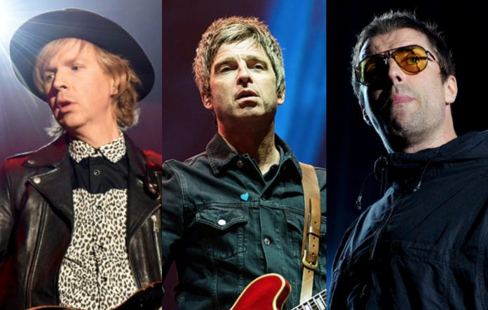 Beck, Noel and Liam Gallagher of Oasis