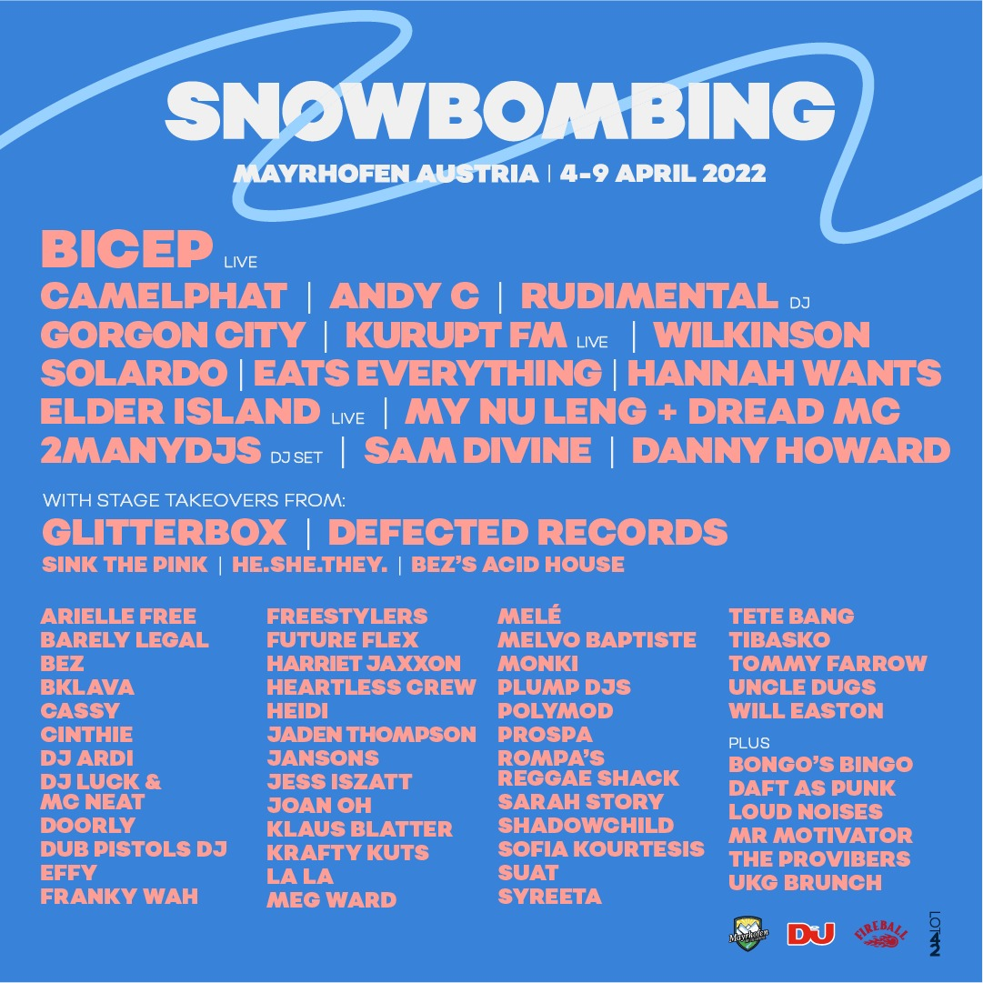 Snowbombing formalizes 2022 return with lineup featuring Bicep, CamelPhat, Gorgon City, and moreSB22 First Lineup Announcement Poster