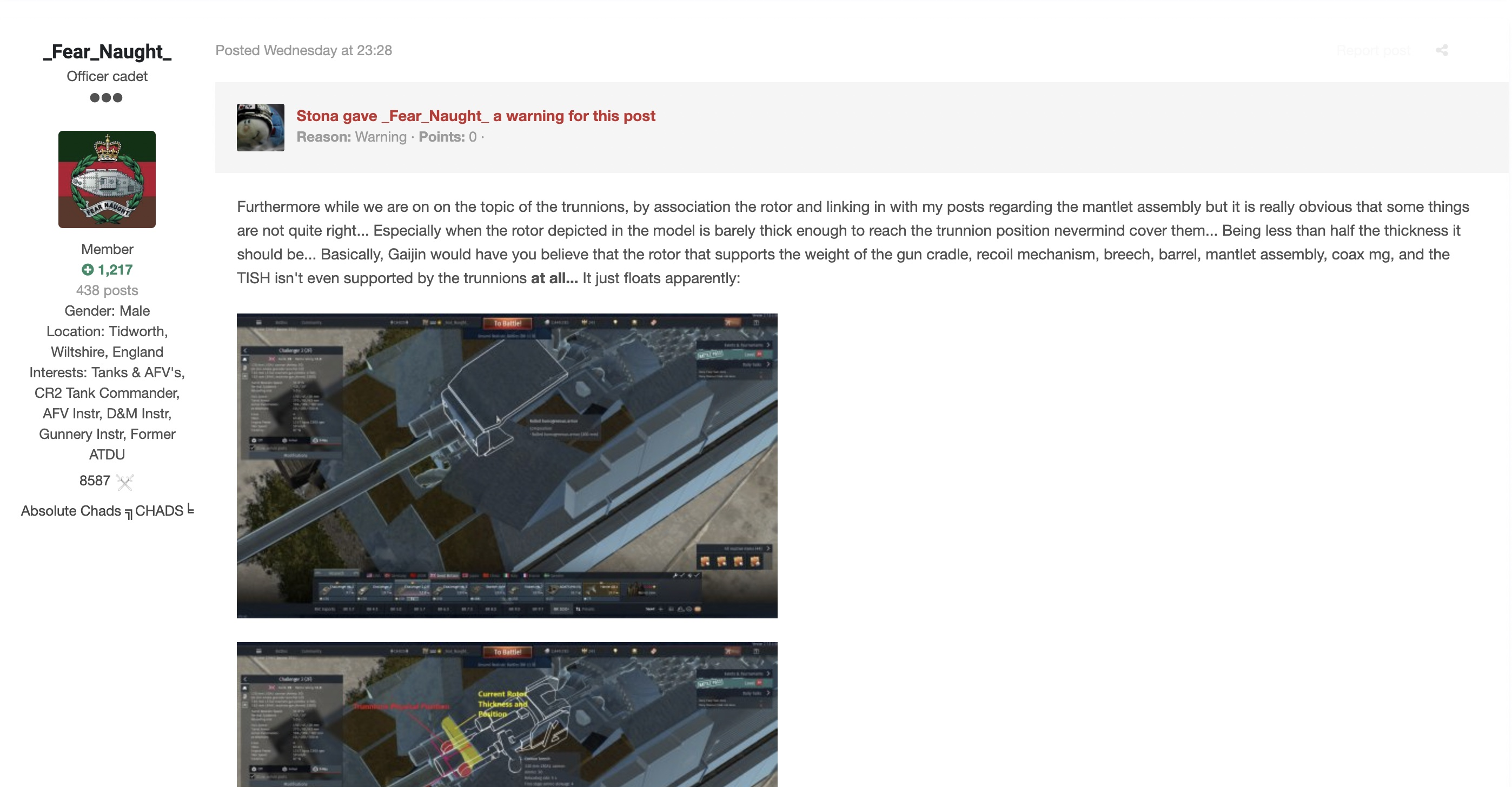 A post on the War Thunder Forum that leaks details about the Challenger 2 tank