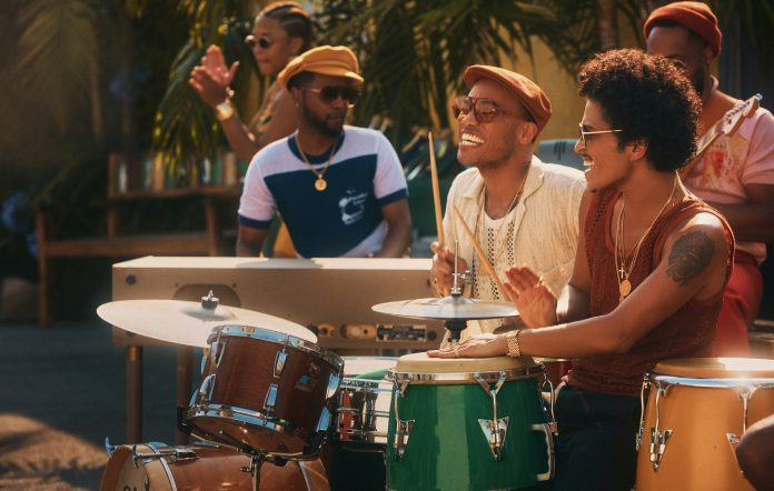 Silk Sonic's Anderson .Paak and Bruno Mars in the video for their song 'Skate'