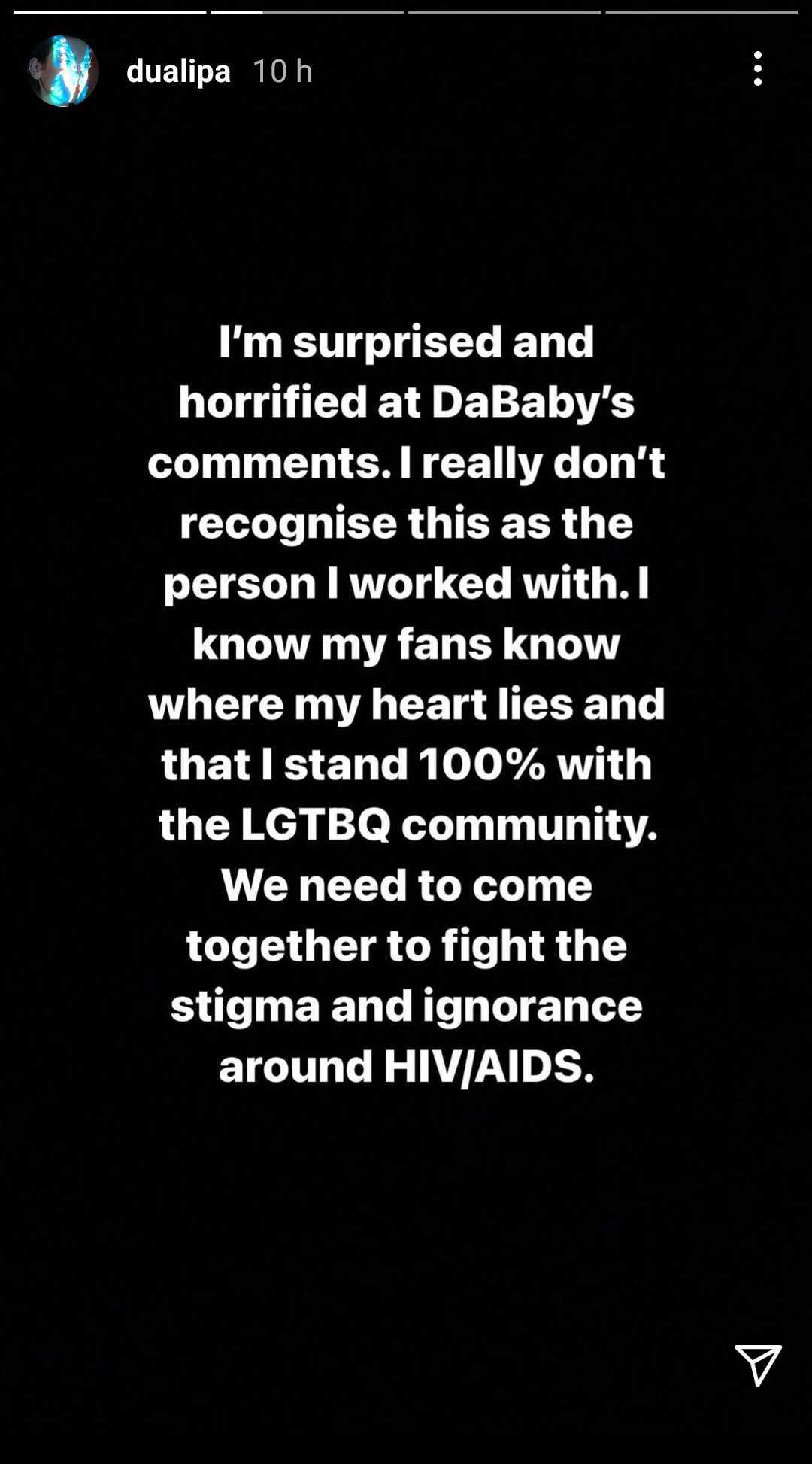 Dua Lipa responds to DaBaby homophobic comments at Rolling Loud Miami