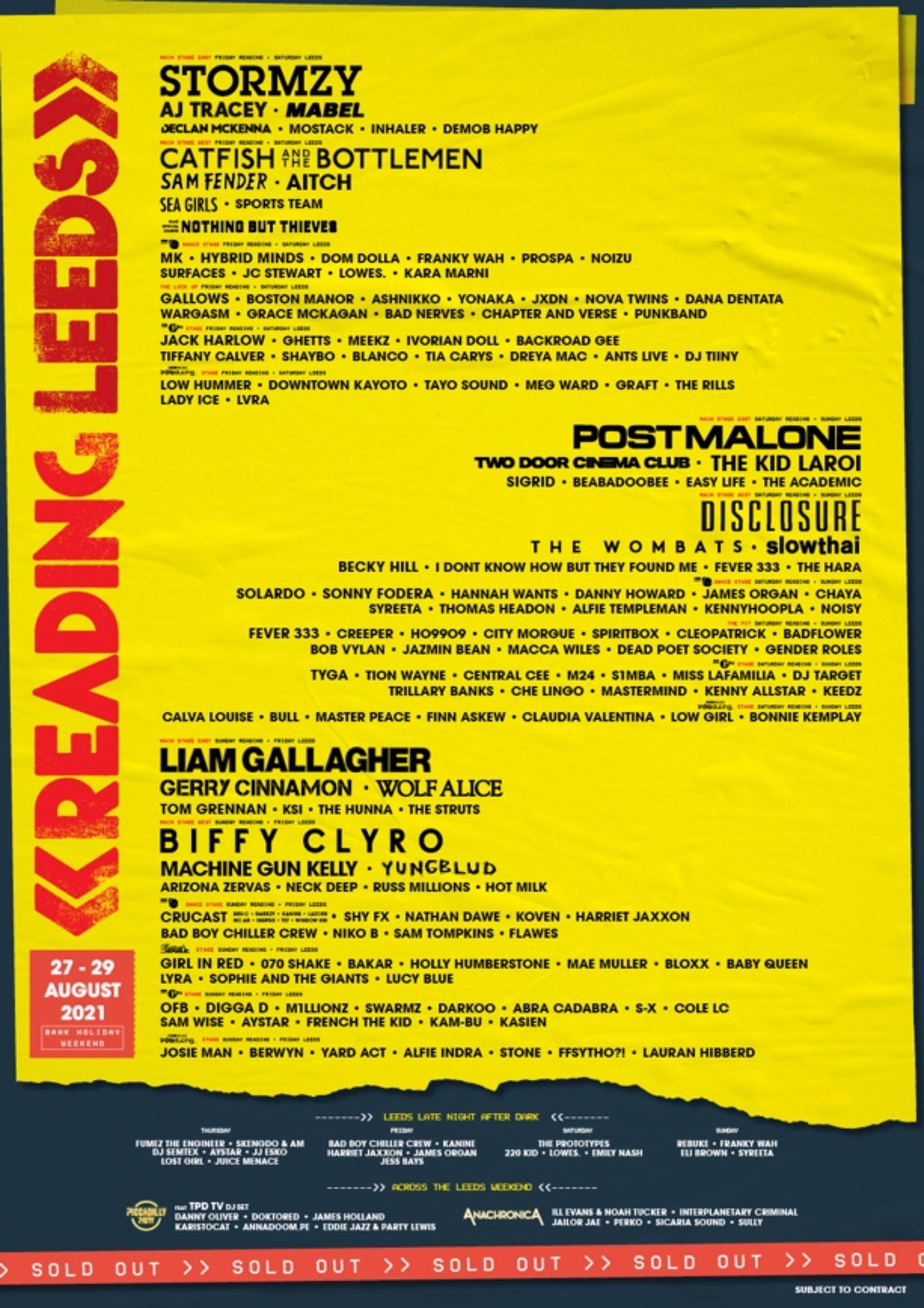 The updated line-up for Reading & Leeds 2021, featuring Biffy Clyro as new co-headliners