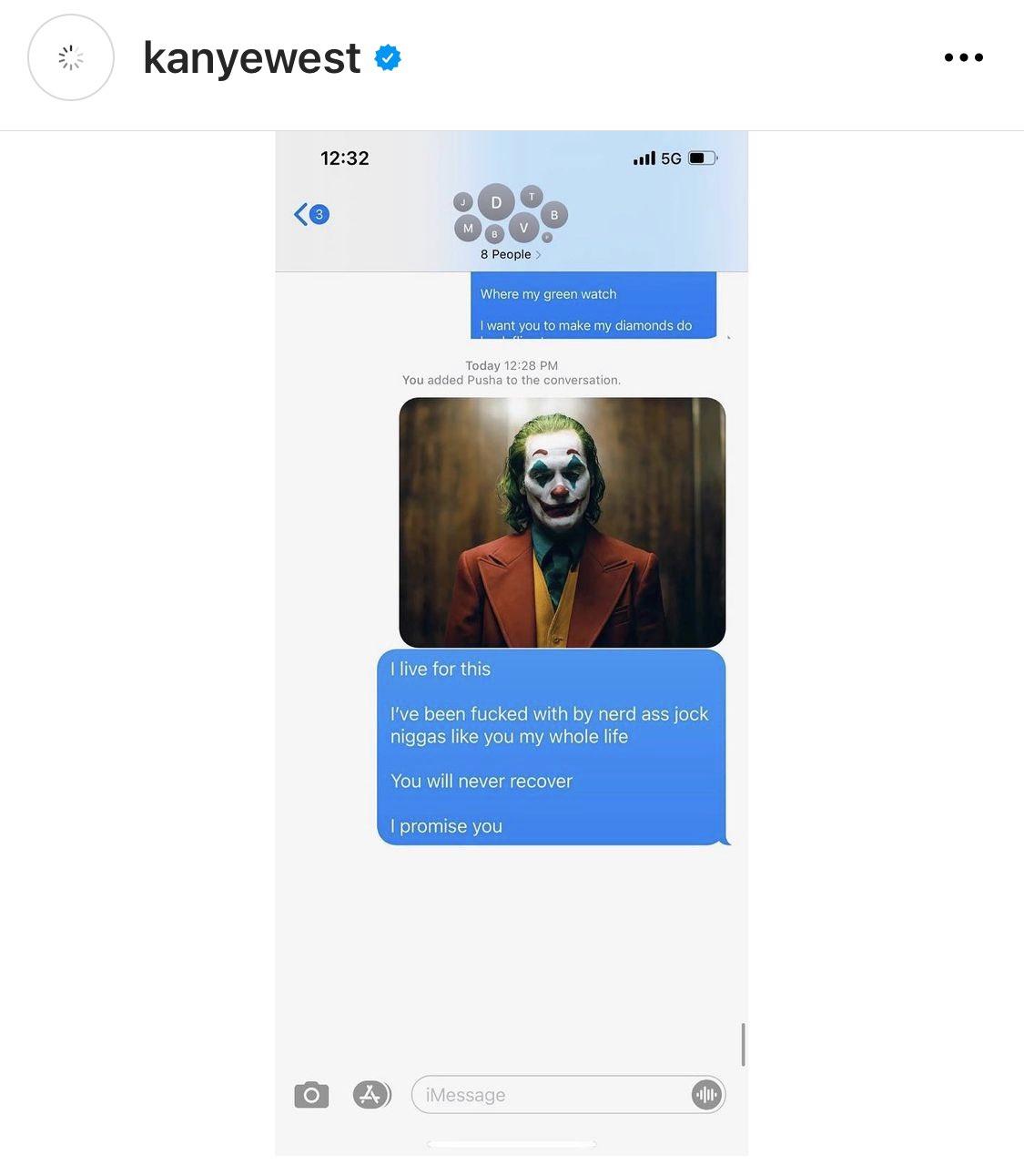 Kanye screenshot of text at Drake