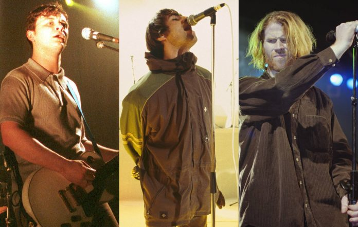 Manic Street Preachers' James Dean Bradfield (Credit: Ian Dickson/Redferns), Oasis' Liam Gallagher (Credit: Des Willie/Redferns) and Screaming Trees' Mark Lanegan (Credit: Brian Rasic/Getty Images) – all on tour in 1996