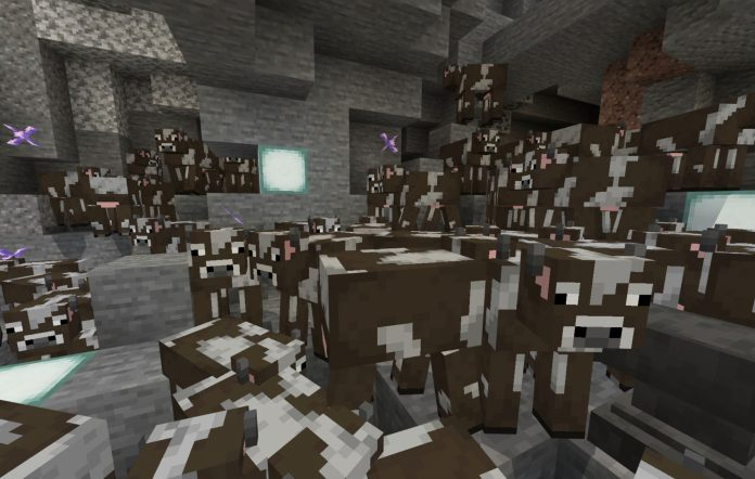 A crater full of cows in Minecraft