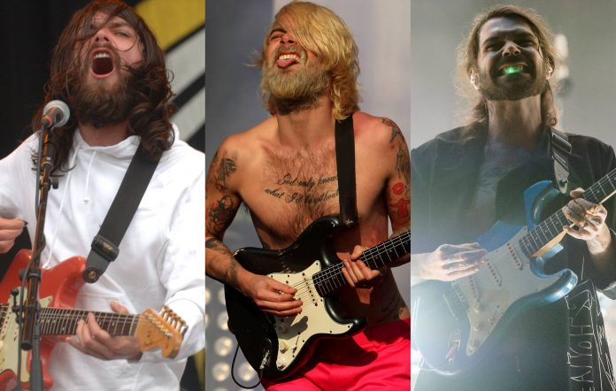Biffy Clyro's Simon Neil performing at Reading Festival in 2005 (Hayley Madden/Redferns), 2010 (Andy Sheppard/Redferns) and 2016 (Joseph Okpako/WireImage)