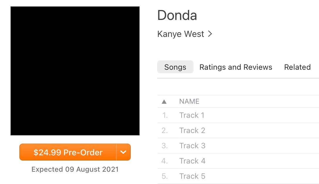 Kanye West Donda release date August 9 iTunes