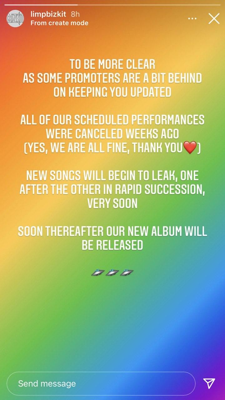 "Limp Bizkit say new songs ""will begin to leak"" soon"