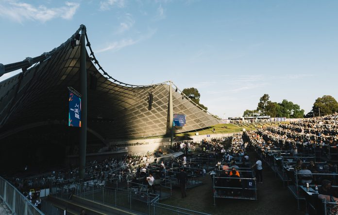 Live music fans enjoy a socially distanced concert at Sidney Myer Music Bowl in Melbourne.