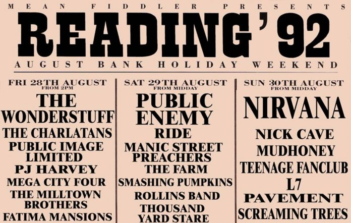 The line-up for Reading Festival 1992