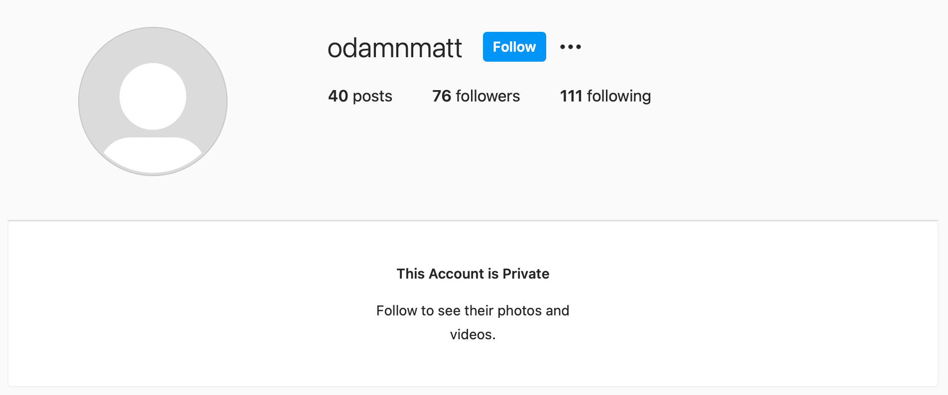 A screenshot of Matt Damon's secret Instagram account