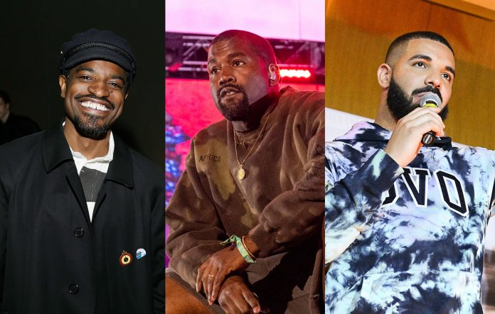 André 3000, Kanye West and Drake. Credits: Lars Niki/Getty Images for The Museum of Modern Art + Timothy Norris/Getty Images for Coachella + George Pimentel/Getty Images