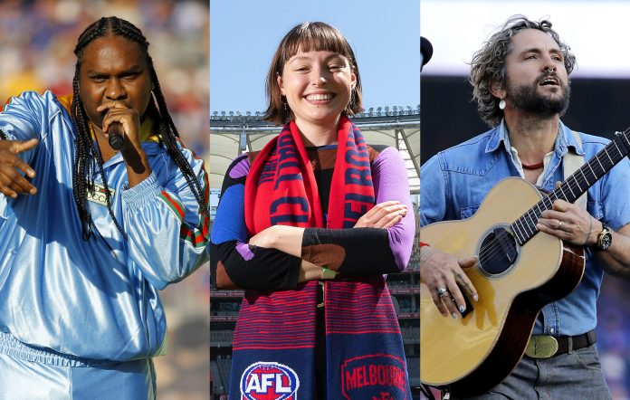 Baker Boy (Dylan Burns/AFL Photos via Getty Images) + Stella Donnelly (Will Russell/Getty Images) + John Butler (Dylan Burns/AFL Photos via Getty Images)