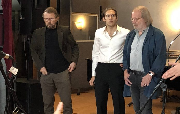 Former Klaxon James Righton with ABBA's Björn Ulvaeus and Benny Andersson. Credit: Supplied by James Righton
